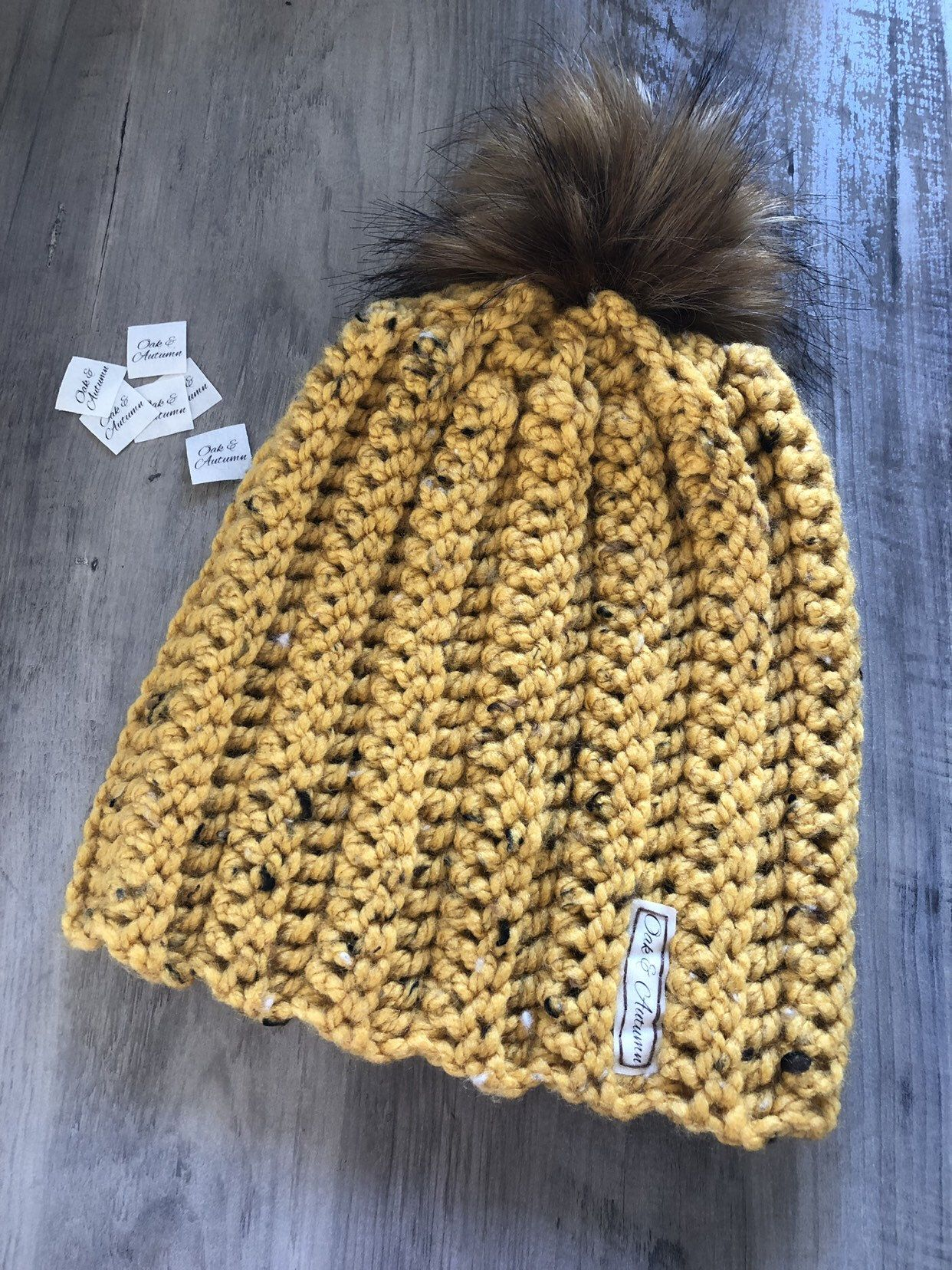 Handmade chunky knit yellow Pineapple hat green and brown bobble hatbeanie