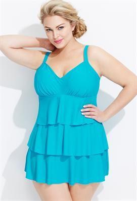 Plus size modest swim dress
