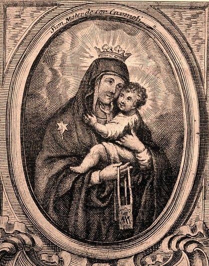 Soy La Madre Decoro Del Carmelo Virgen Del Carmen La Bruna Grabado Linear Art Carmelite Saints Art History