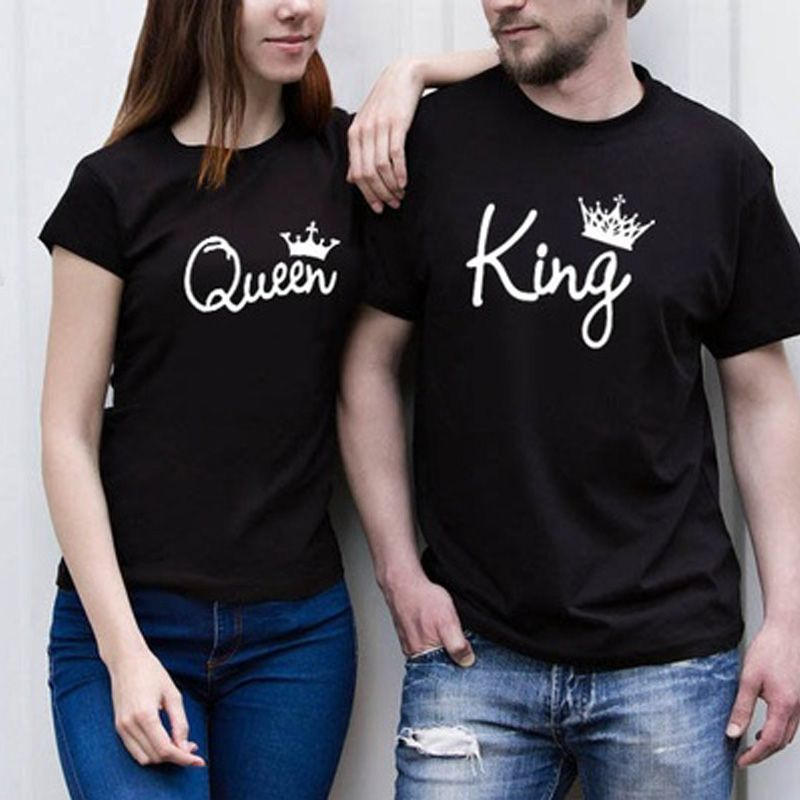 97415e0619 New Couple Tshirts Plus Size King&Queen With Crown Printed Couple T-Shirts  Black T-Shirt Set Cotton Tee Unisex Boyfriend Girlfriend T Shirt Price:  977.05 ...