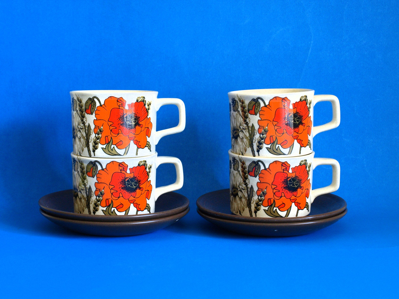 Johnson Of Australia Poppy Tea Cups Saucers Retro Vintage Set Of