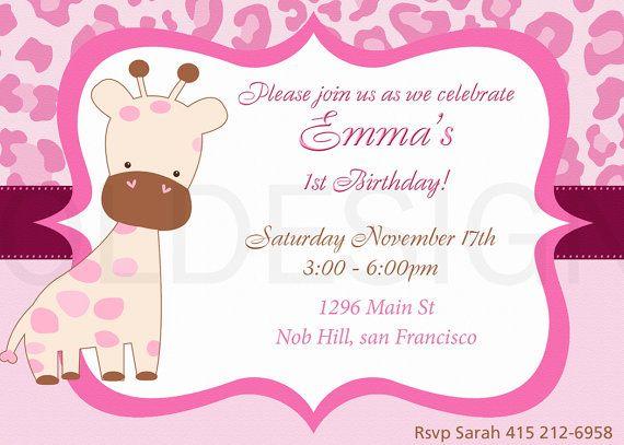 Jungle Safari Birthday Or Baby Shower Invitation. Girl. Printable Digital  File
