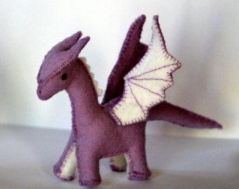 purple wool felt dragon