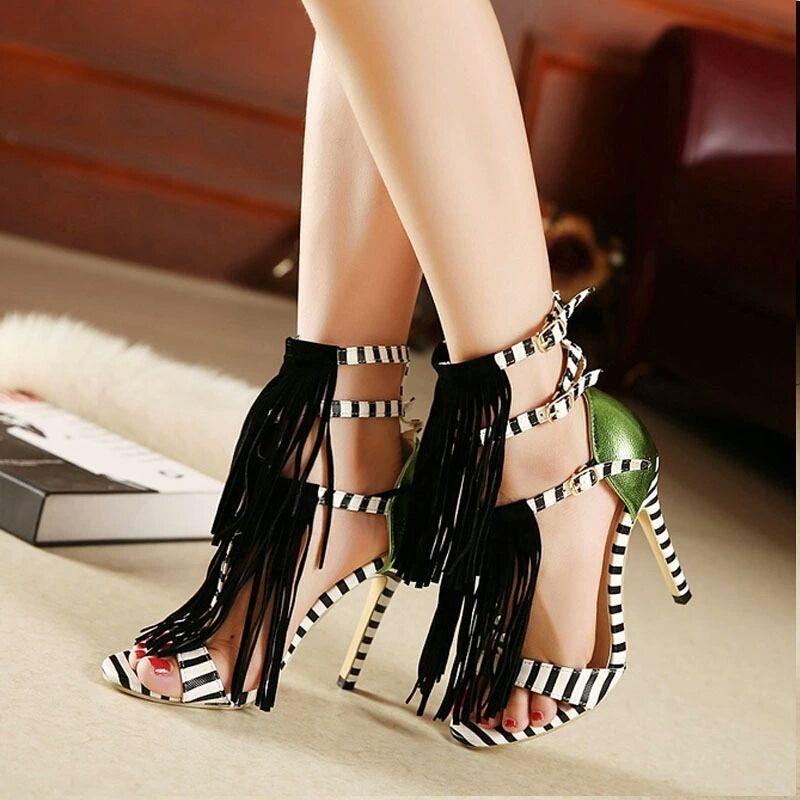 9f5245108e Tassel Gladiator High Heel Fringe Sandals Stripped Shoes | Shop Our ...