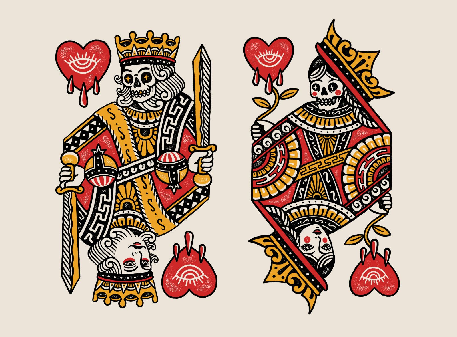 King Queen For Bad Monday Apparel Traditional Tattoo Art Old School Tattoo Designs Traditional Tattoo Sleeve