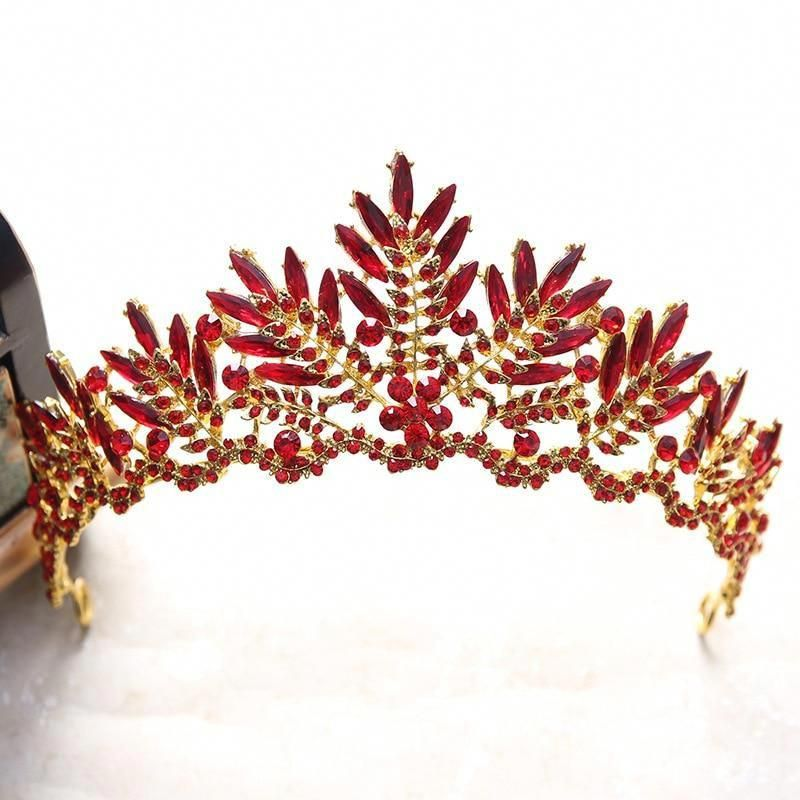 Luxury Red Rhinestone Bridal Tiara Crown Vintage Gold Baroque Crystal Brides Hair Jewelry Tiaras A31 Rhinestone Bridal Crystal Bridal Tiaras Bride Hair Jewelry