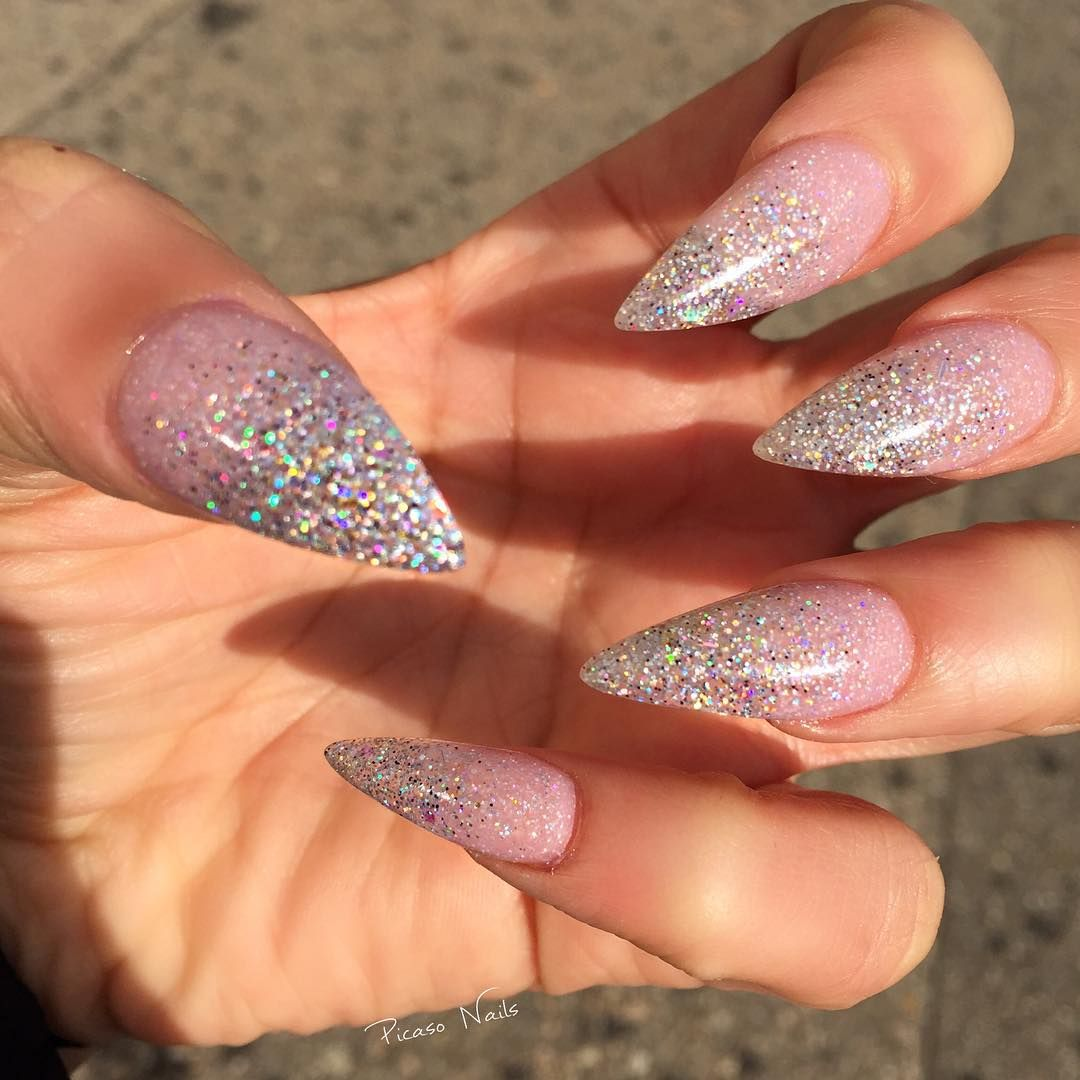 Glitter Ombre fade starting from Nude to silver all acrylics ...