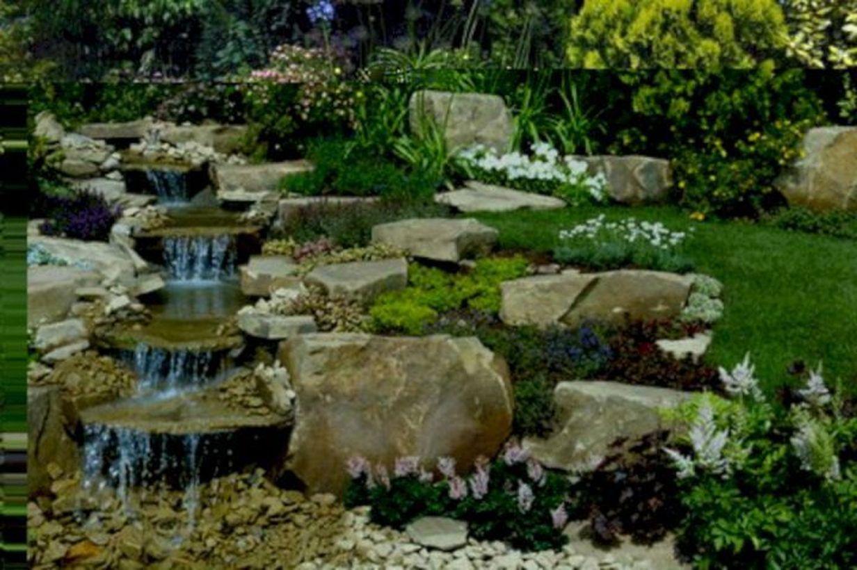 53 Relaxing Small Front Garden Design Ideas With Waterfall ... on Rock Garden Waterfall Ideas  id=37137