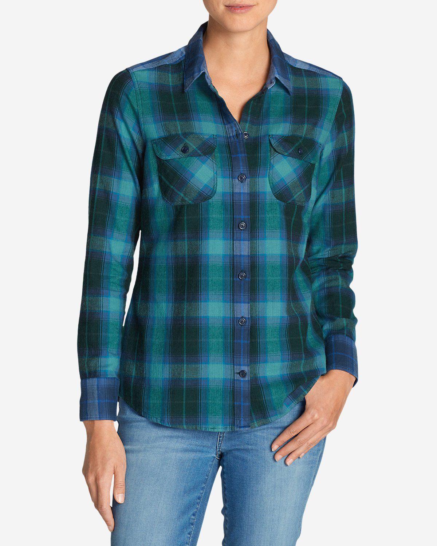 Women's Stine's Favorite Flannel Mixed Plaid Shirt   Eddie Bauer