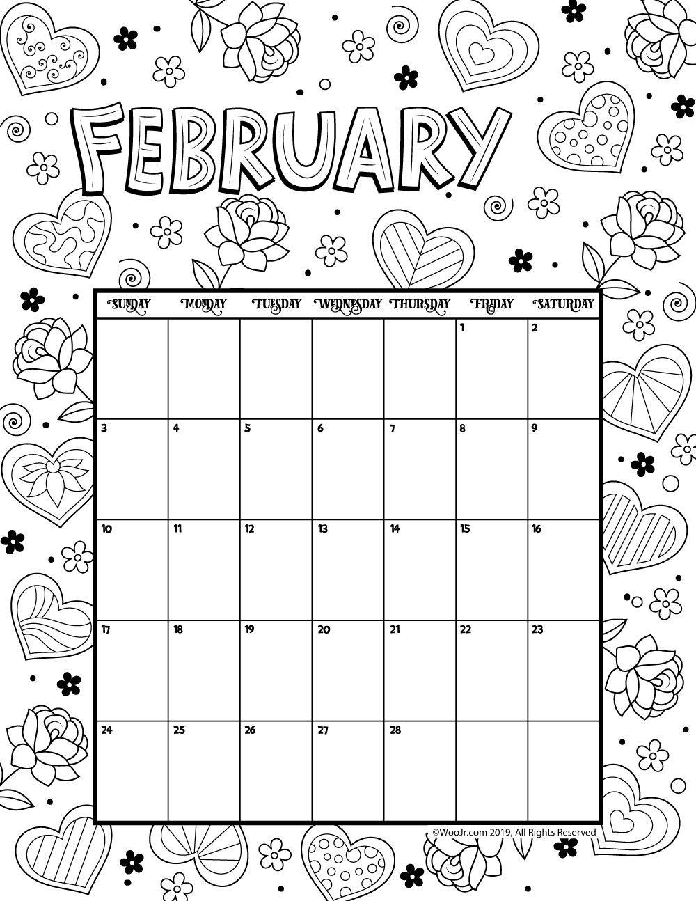 February 2019 Coloring Calendar Woo Jr Kids Activities Coloring Calendar Kids Calendar Calendar Pages