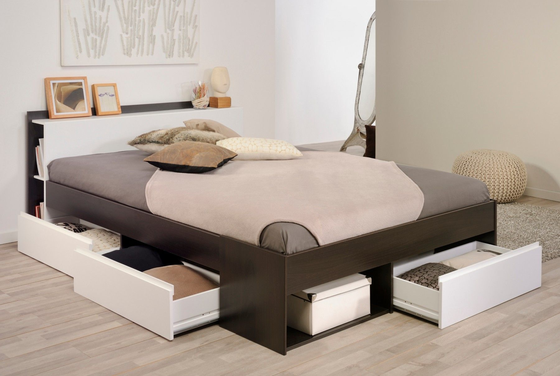 Lit Tiroirs Cafe Et Blanc Megeve Lisie Bed Frame With Storage Bed Furniture