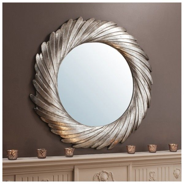 cadwell large round twisted frame mirror silver 39 diameter mirrors. Black Bedroom Furniture Sets. Home Design Ideas