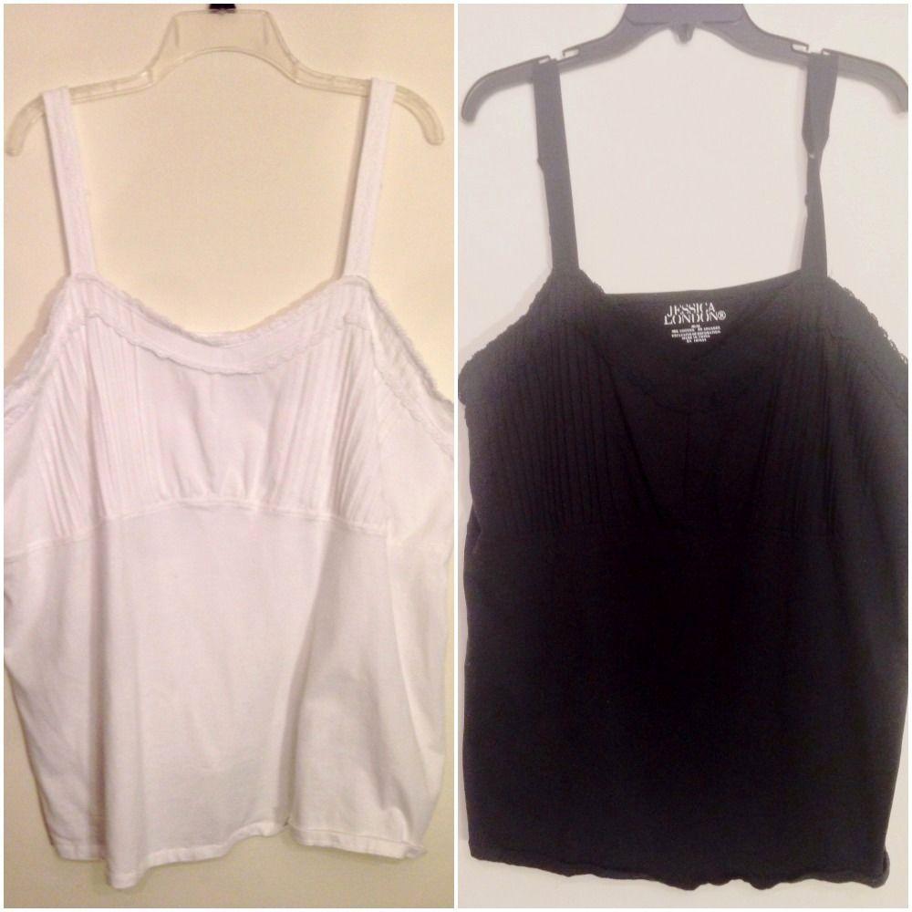 Womens Plus Size 30/32 5X Knit Tank Top Thin Strap Babydoll Set of 2 Black White #JessicaLondon #KnitTop #Casual