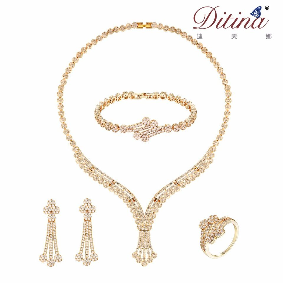 24k Gold Plated Costume Jewelry Sets 4 Pieces Cz Synthetic High Quality Best Price Whole