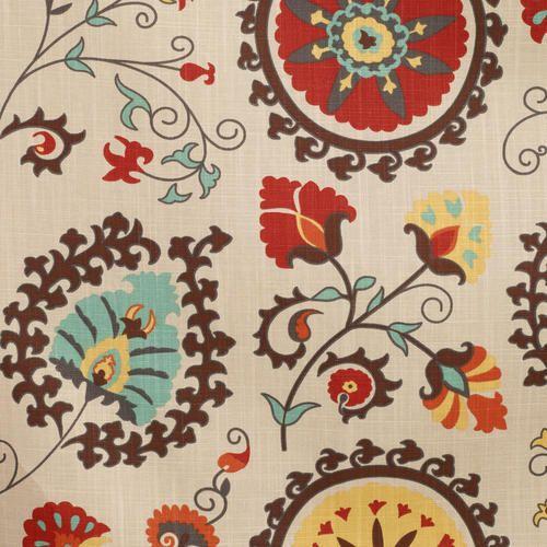 Gold And Red Suzani Cotton Curtain World Market Printed Curtains Suzani Suzani Fabric