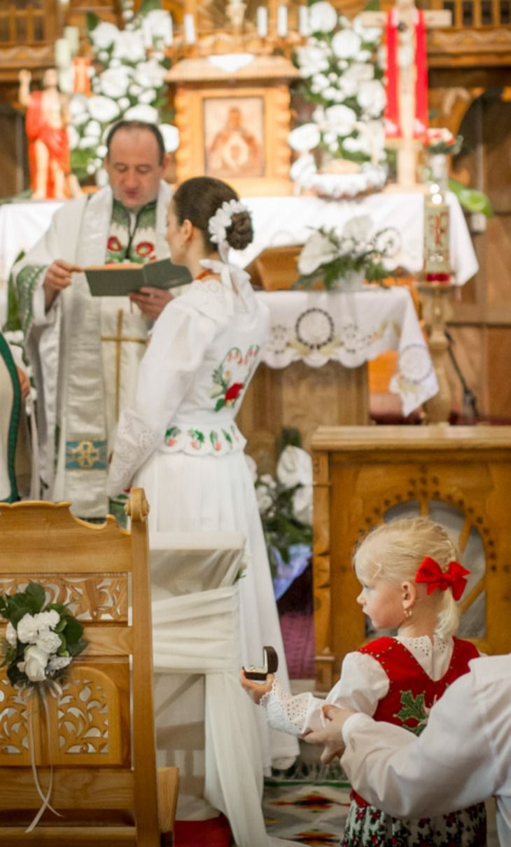 Polish Highland Wedding Ceremony, Tatra Mountains, Poland, Note:  Flower girl holding wedding ring