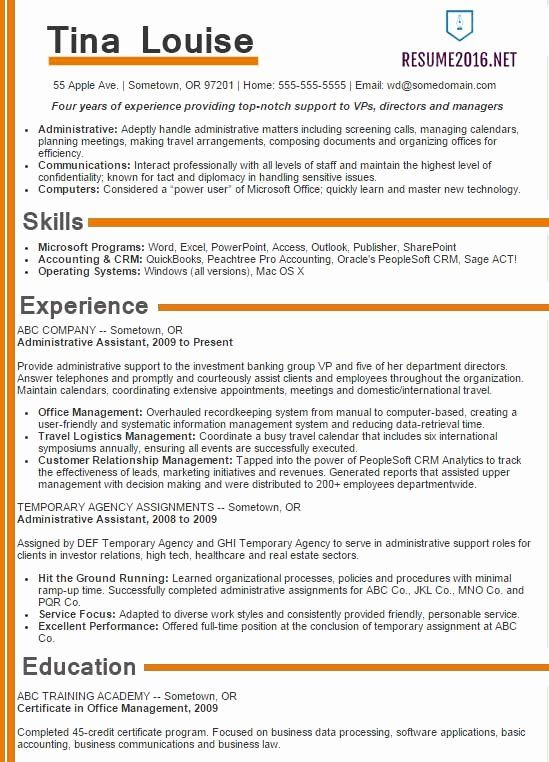 Free Resume Template 2016 Elegant Administrative assistant