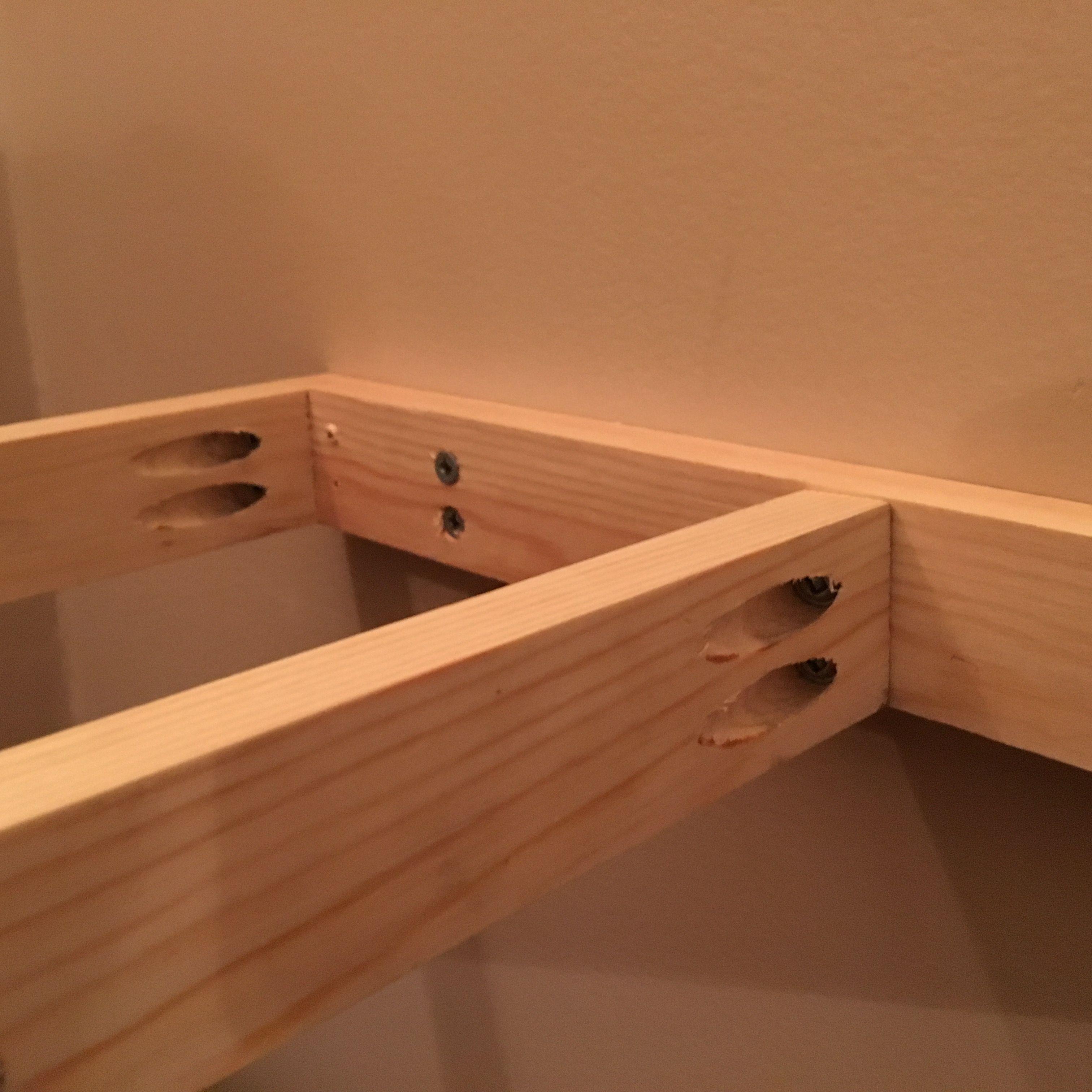 Close up of Kreg joints Cat shelves, Floating shelves