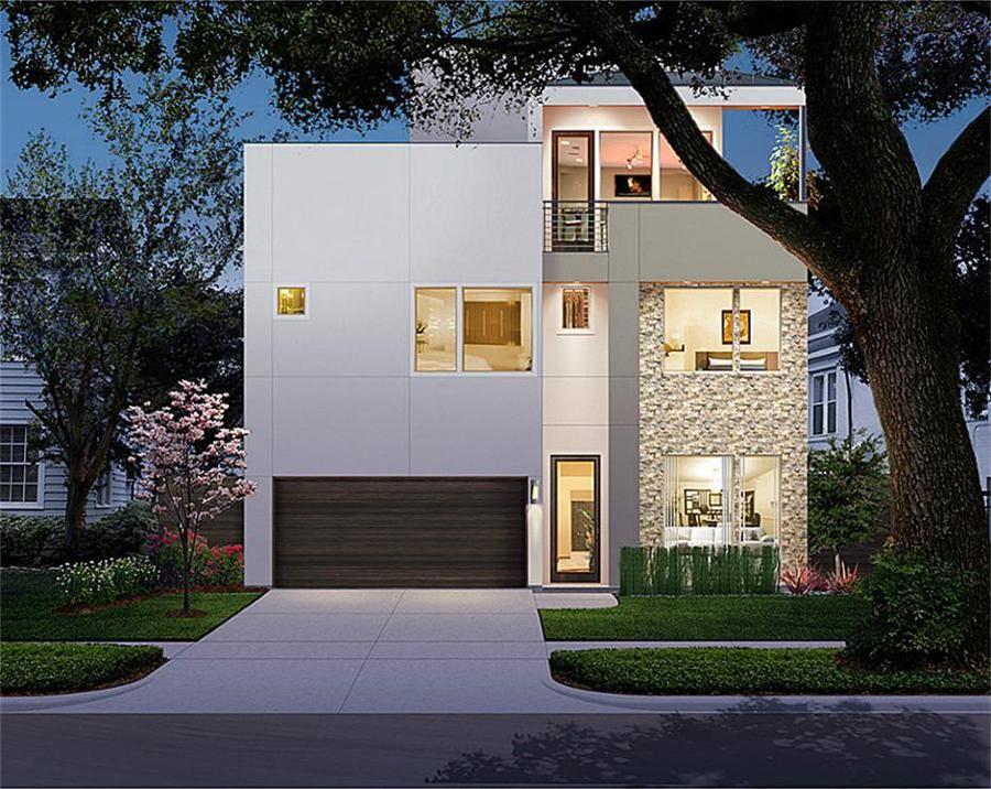 2 1 2 Story Urban House Plan E3376 House Plans Mid Century Modern House Plans House