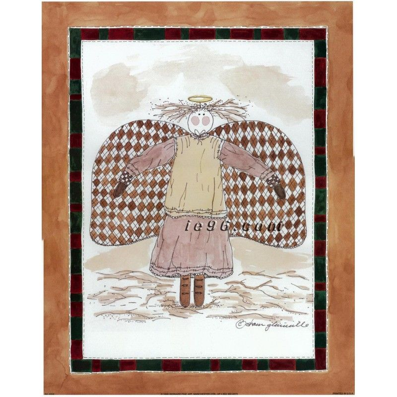 "Art Print By Sharon Glanville Country Angel SG0203 Size (11"" x 14"") -- $0.75"