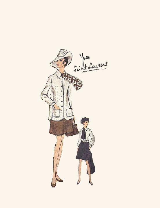 Yves Saint Laurent Vogue Paris Original 60s by AdeleBeeAnnPatterns, $32.00