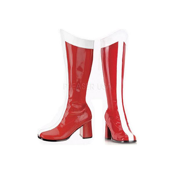Women's Funtasma Gogo 305 - Red/White Stretch Patent Casual (£36) ❤ liked on Polyvore featuring shoes, funtasma shoes, red shoes, patent shoes, white patent leather shoes y patent leather shoes