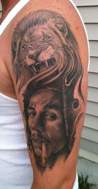 Bob Marley Lion Tattoo By Bob Tyrrell Tat Toos Tattoos Lion