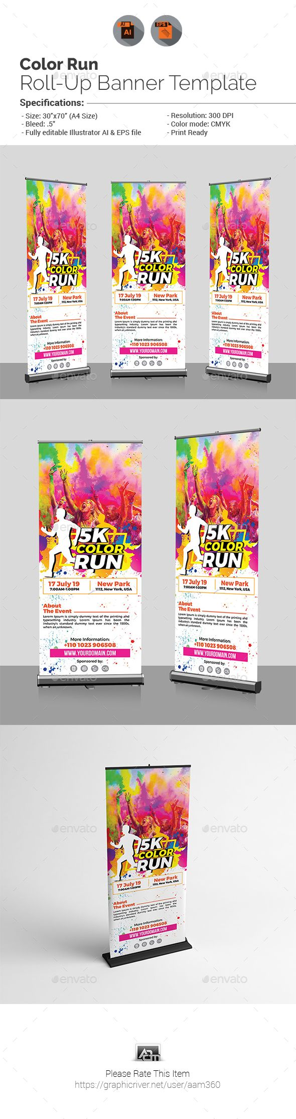 Color Run Fest Roll-Up Banner | Banners, Banner template and Ai ...