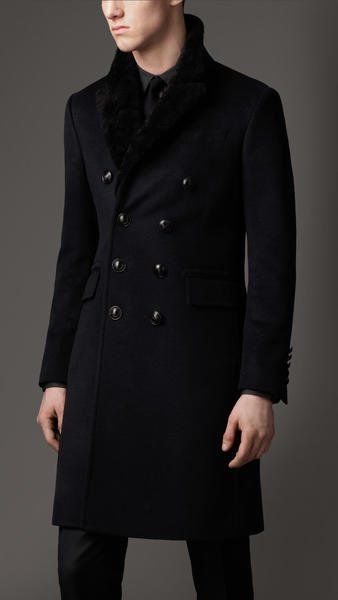 5e822ee3230 Fancy - Burberry Shearling Collar Chesterfield Coat in Black for Men (navy)