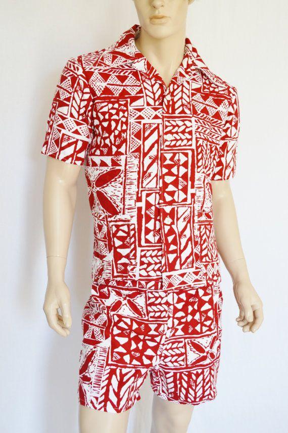 c444e1de4c Vintage 1960's 70's Men's JANTZEN Hawaiian 2 Pc Shirt Swim Trunks Shorts  SuRfeR Cabana Shirt Set L