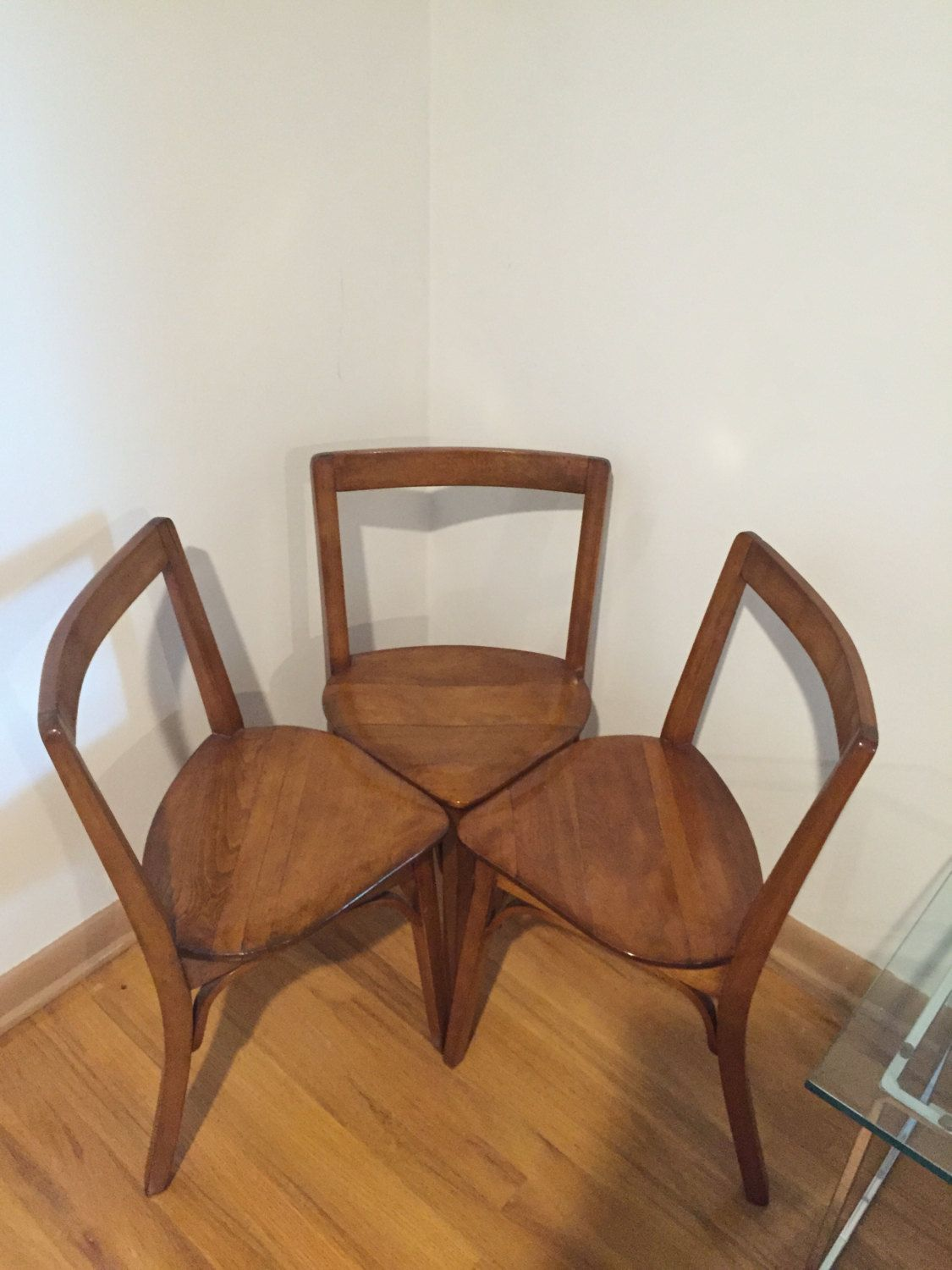 Set of Three, Antique Three Legged Chairs Maple by MidCenturyModernish on  Etsy - Set Of Three, Antique Three Legged Chairs Maple By