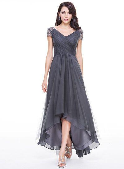 [€ 144.00] A-Linie V-Ausschnitt Asymmetrisch Tüll Kleid für die Brautmutter mit Rüschen Perlstickerei Pailletten - JJ's House