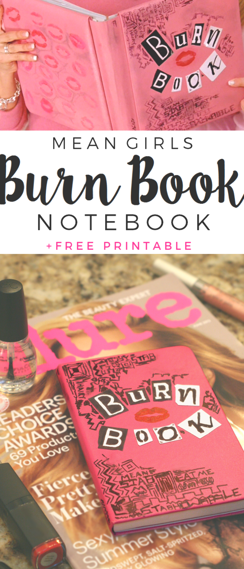 Diy Mean Girls Burn Book Notebook Planner Free Printable For The Letters The Glitter In My Tea For Mean Girls Burn Book Easy Arts And Crafts Diy For Teens