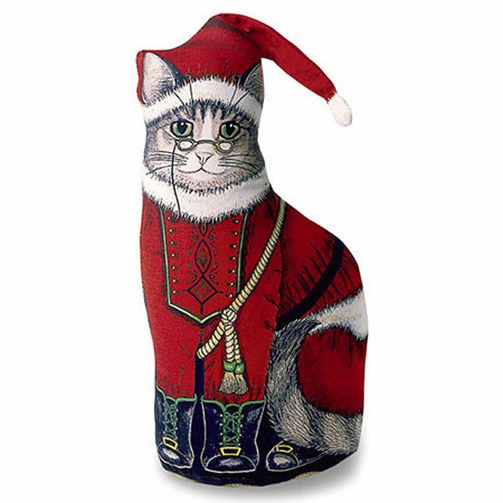 CAT DOORSTOP - SANTA KITTEN DOOR STOP - CHRISTMAS DECORATION