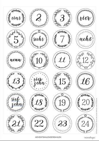 Zahlen für den DIY Adventskalender zum Ausdrucken #projectstotry