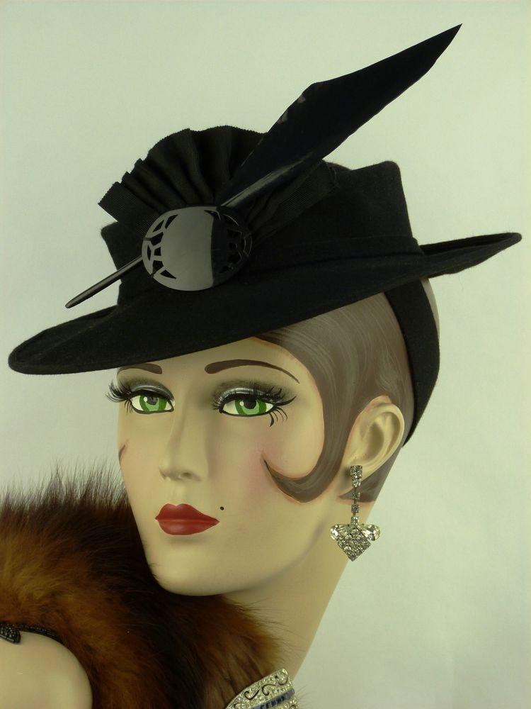 aebd1ec2a17fa VINTAGE HAT 1930s USA, BLACK FELT TILT HAT, RIBBON FAN, BROOCH & FEATHER  TRIM   eBay £159.99 (BIN) +8.50PP