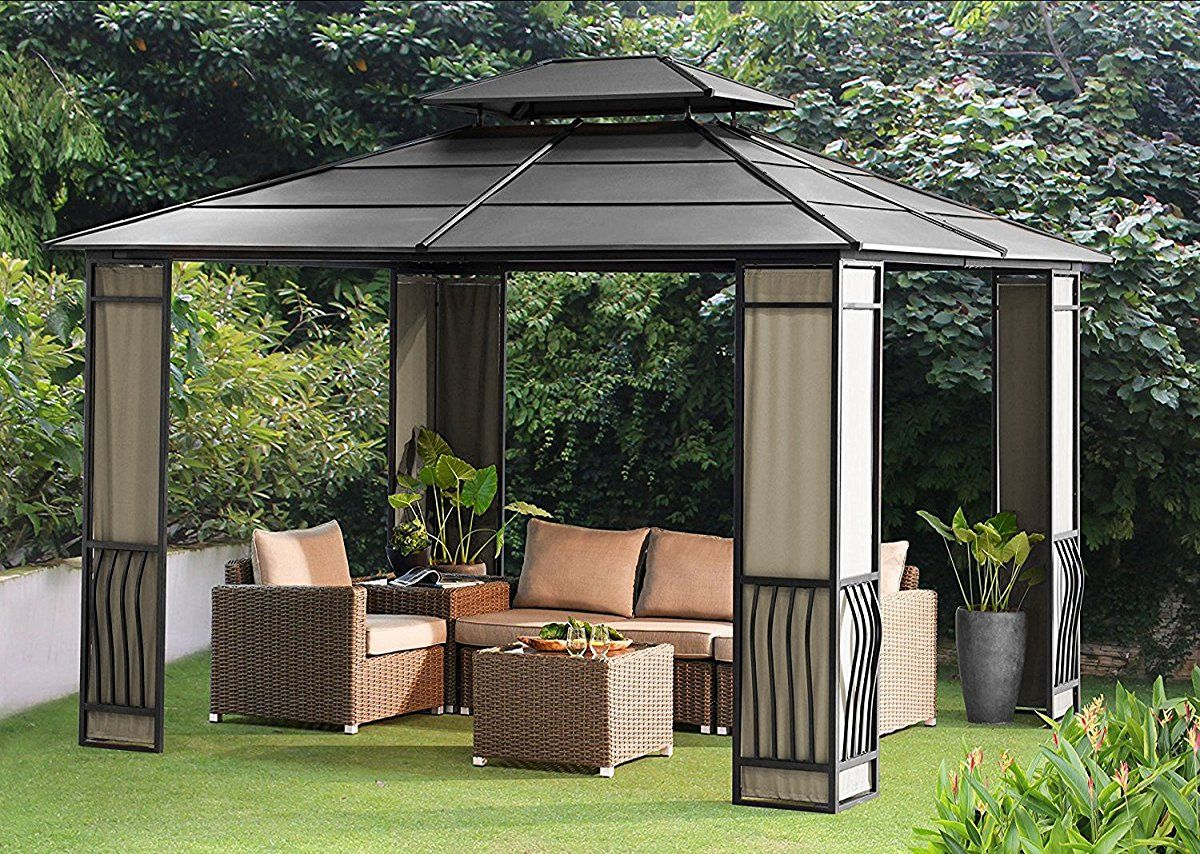 Sunjoy 10 X 12 Heavy Duty Galvanized Steel Hardtop Wyndham Patio Gazebo Patio Gazebo Hardtop Gazebo Patio
