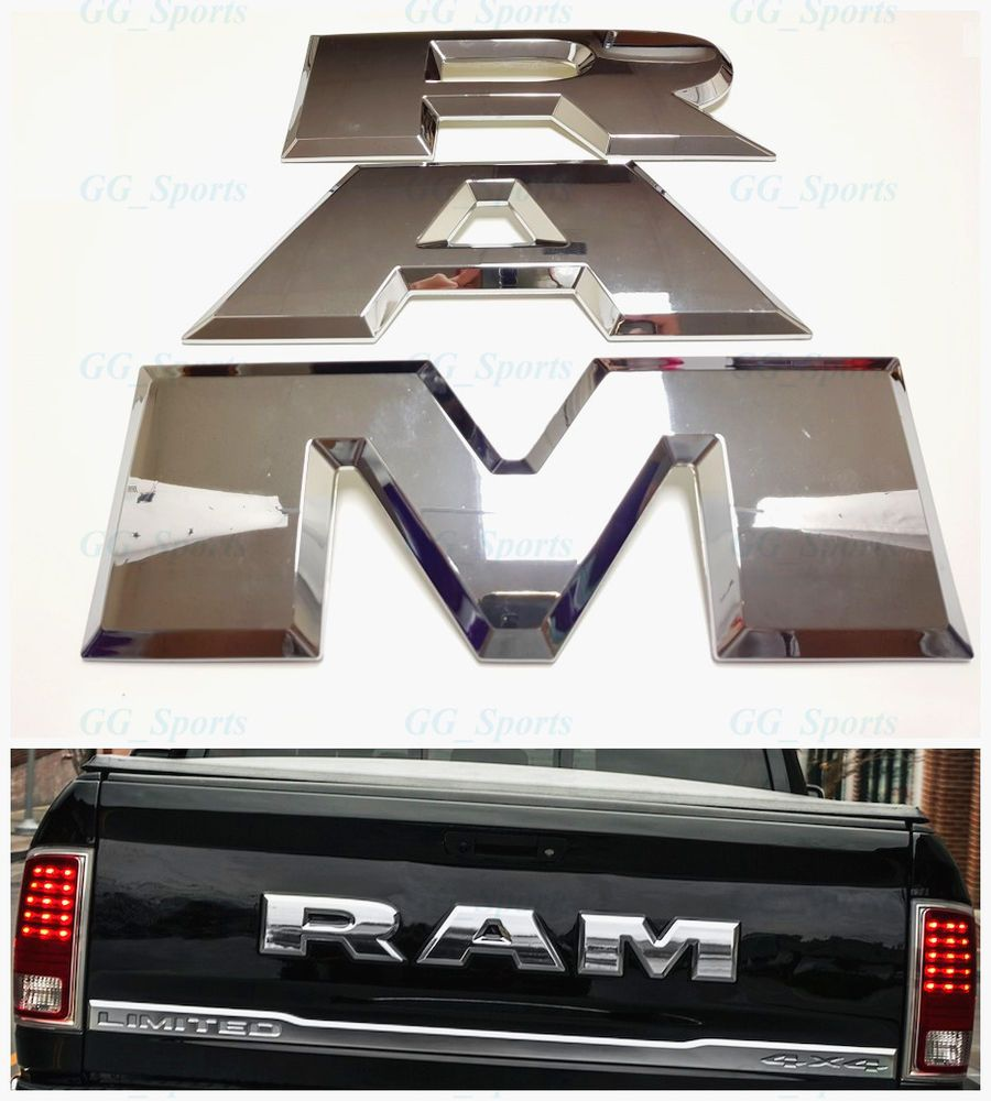 For Tailgate Ram Emblem Letters 2015 2018 Dodge Ram 1500 With 4wd Or 2wd Stick On Easily With 2 Prongs On Either End Of Each Lett Dodge Ram 2018 Dodge Dodge