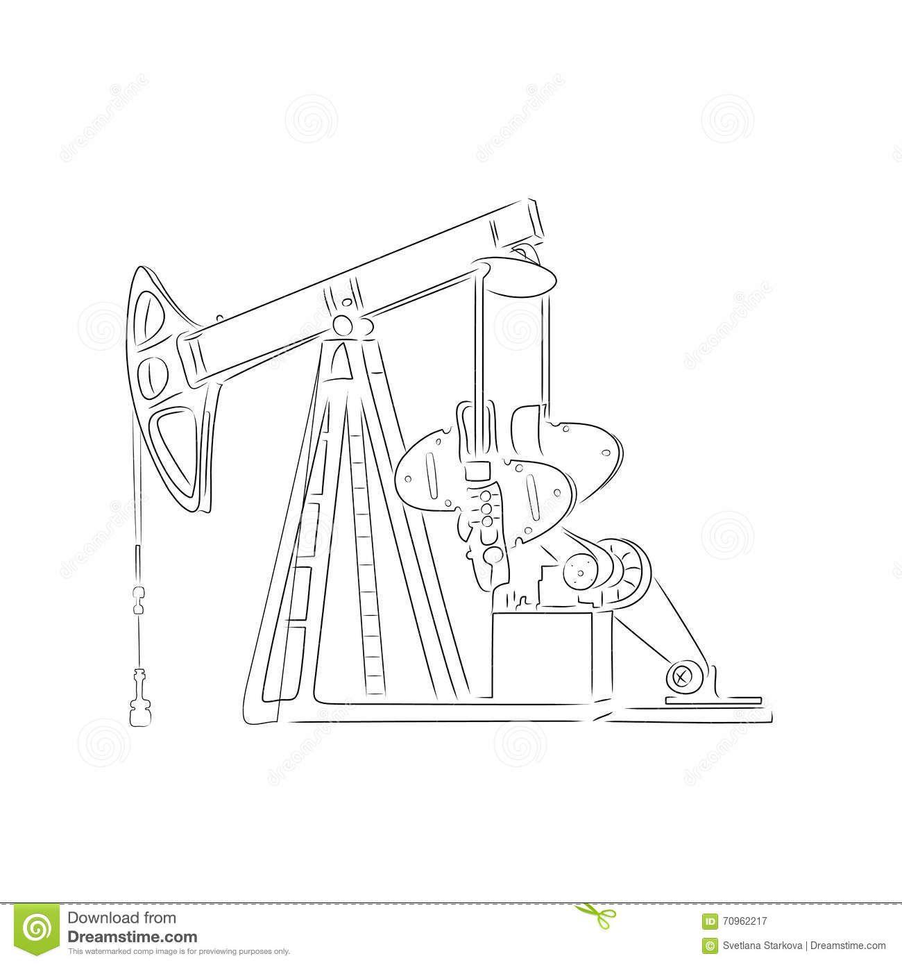 Outline Of Oil Derrick Vector