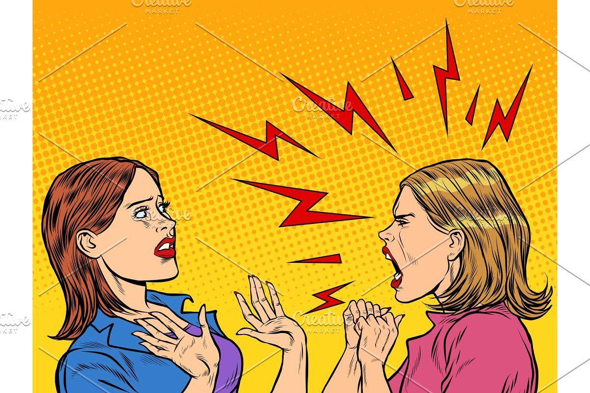 Two Angry Women Scream Friends Illustration Illustration Art Friend