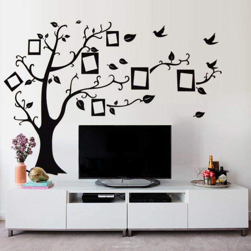 Family Tree Bird Wall Sticker Photo Picture Frame Removable Decal