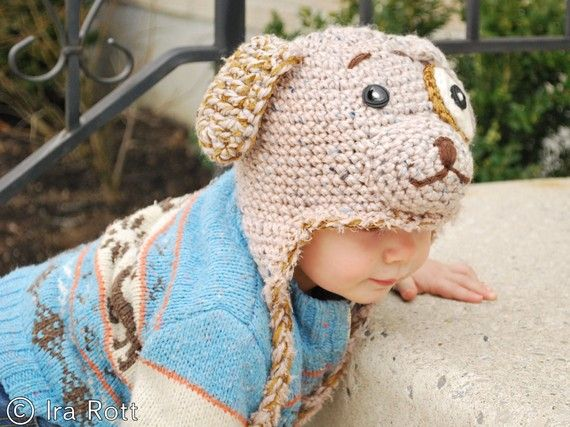 Handmade crocheted puppy dog hat for kids.