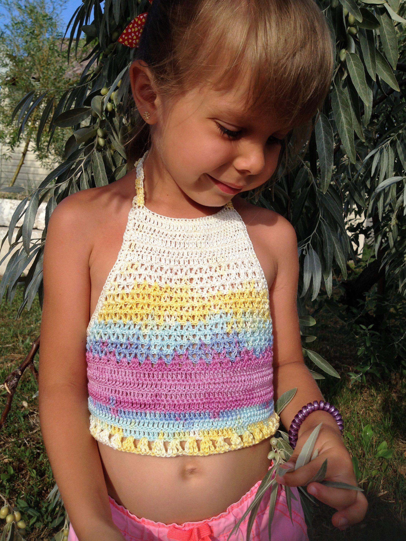 Colorful crochet top Festival halter top Open back flora