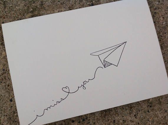 Paper airplane I miss you card hand drawn instant download