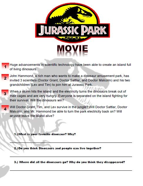 jurassic park movie worksheet esl movies pinterest movie. Black Bedroom Furniture Sets. Home Design Ideas
