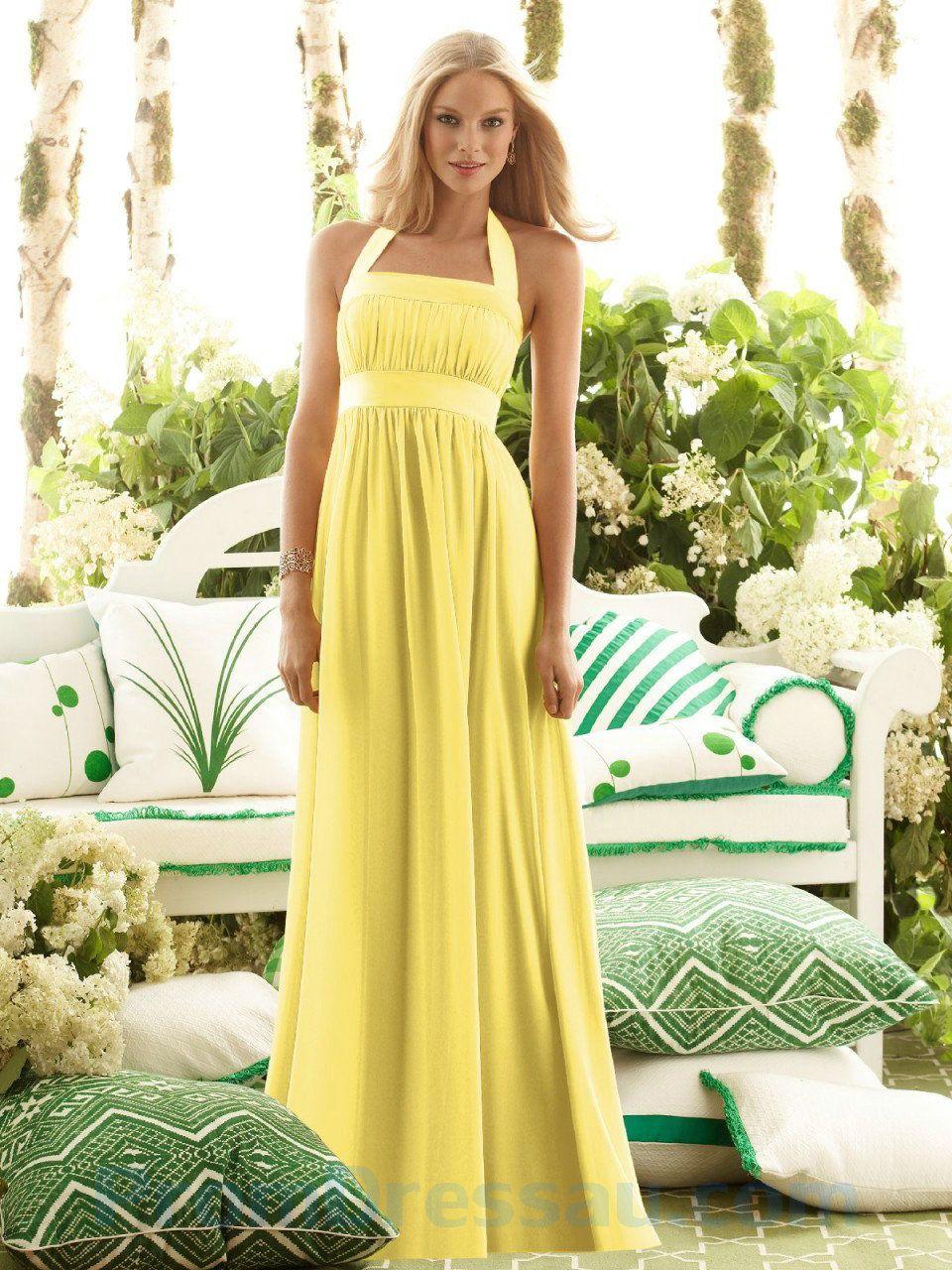 Yellow halter ruffled empire long wedding dress for bridesmaids yellow halter ruffled empire long wedding dress for bridesmaids ombrellifo Choice Image