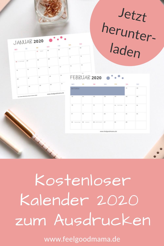 Kalender 2020 zum Ausdrucken - kostenlos Kalender zum