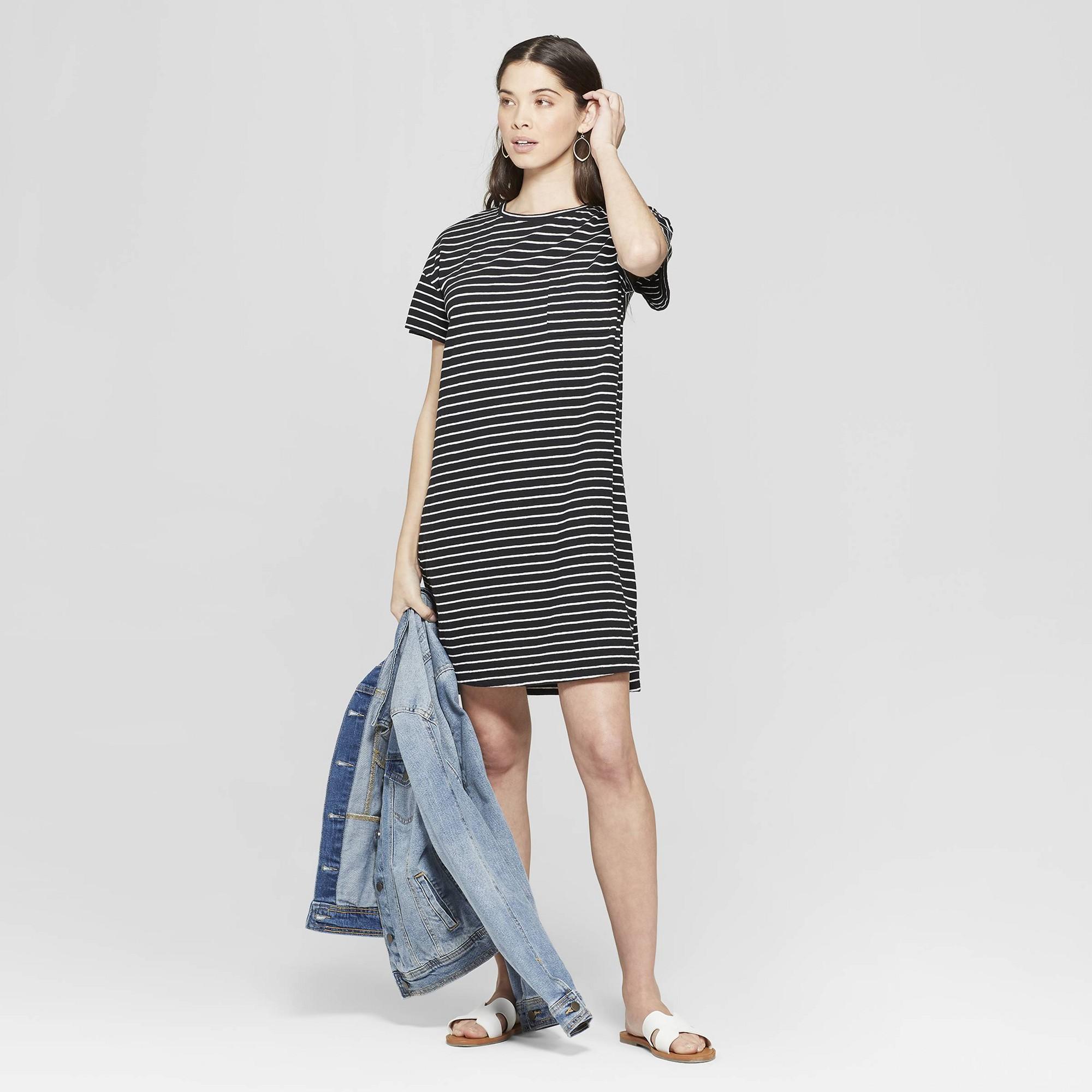 590f1cf3d39f Women's Striped Short Sleeve V-Neck T-Shirt Dress - Universal Thread Black/White  Xxl