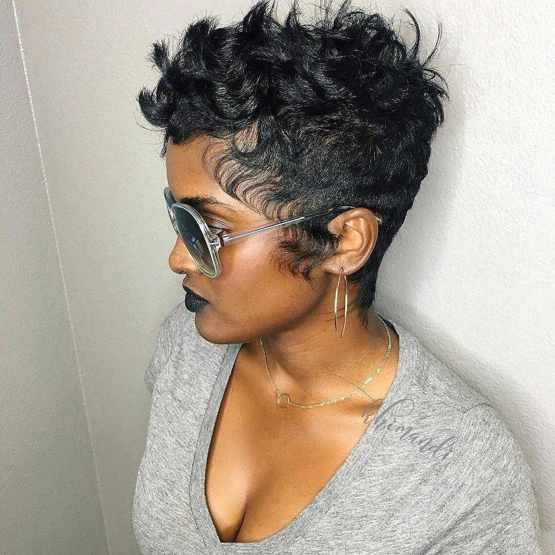 curly pixie cut with slight undercut for black women | pixie cuts