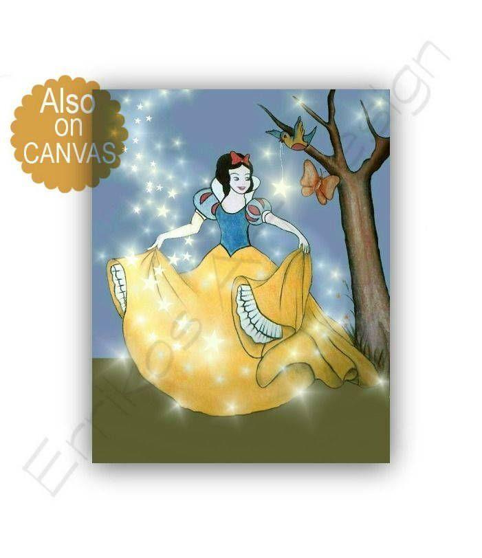 Princess Snow White Print, Princess decor, Baby Girl nursery, Disney ...